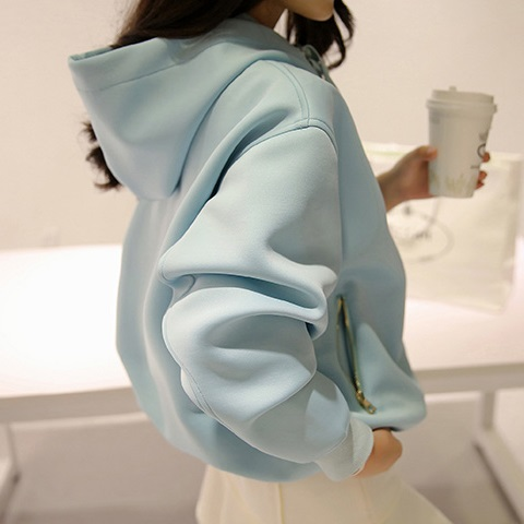 PS Mall 蝙蝠袖學生寬鬆連帽拉鍊加絨帽T 上衣外套【T2964】