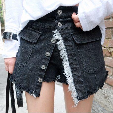PS Mall PS Mall 休闲百搭个性独特单排扣毛边牛仔短裙裤
