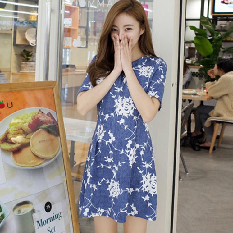 CHERRYKOKO 修身花朵輕單寧洋裝 藍 nari ops -