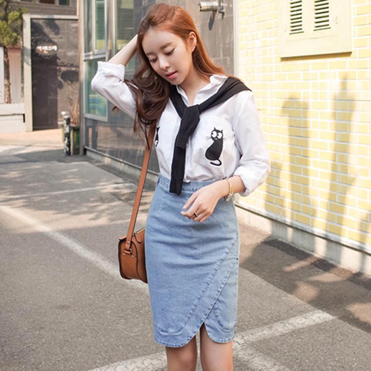 CHERRYKOKO 牛仔高腰窄裙 牛仔 stash skirt-