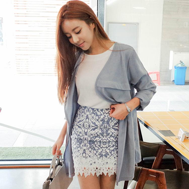 CHERRYKOKO 圖騰蕾絲點綴短裙 天空藍 celebrated skirt -