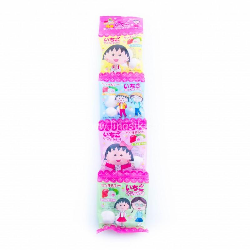 EIWA 櫻桃小丸子4連棉花糖-草莓味 60g
