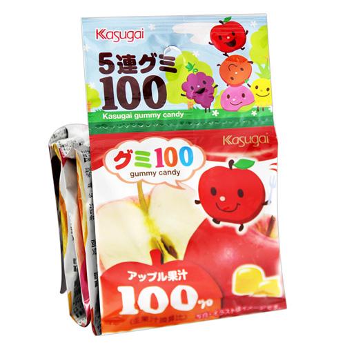 有樂町進口食品 日本 春日井 五連QQ糖 115g 蘋果,橘子,水蜜桃,鳳梨,葡萄