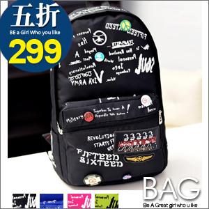 B.A.G*現+預*【BT-HZM】徽章字母造型螢光個性後背包(現+預)-4色