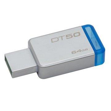 *╯新風尚潮流╭* 金士頓 隨身碟 DT50 USB 3.1 64G 藍標 無蓋式設計 金屬外殼 DT50/64GB