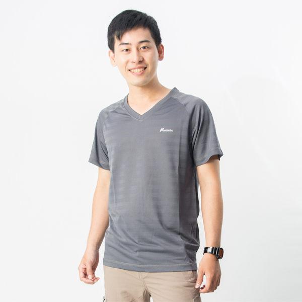 【桃源戶外】雅帆達avanda─AD13201男咖啡紗V領排汗衣『紅』
