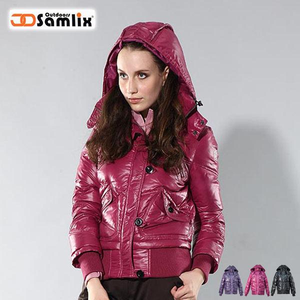 【桃源戶外】山力士 羽絨外套│防風│保暖│防潑水│時尚女外套 PX34211『紅紫』