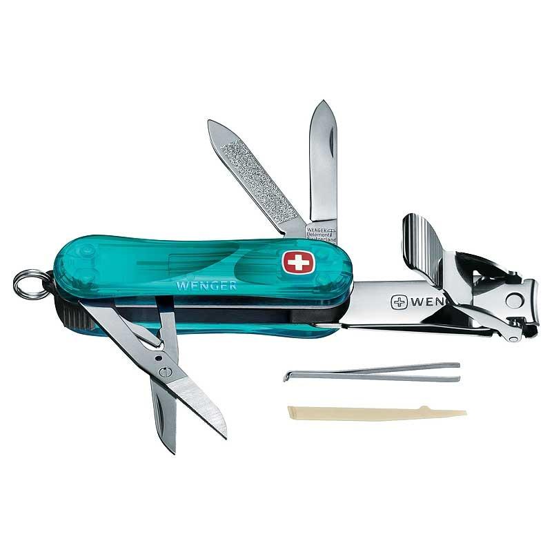 WENGER Nail Clip 580 九用瑞士刀 透明青 露營|登山|休閒 (原台中秀山莊)