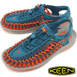 Keen Uneek 男 輕量護趾編織款涼鞋 藍/橘 1013089