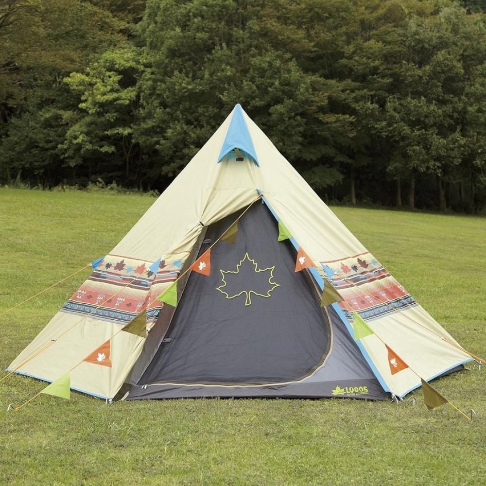 日本 LOGOS 印地安300露營帳全套4~5人 (地墊、地布、旗幟) 露營 戶外 套裝組