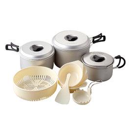 桃源戶外 日本 LOGOS Cooker 輕便型鍋具11件組 鍋子 湯匙 篩網 飯杓 煮鍋 戶