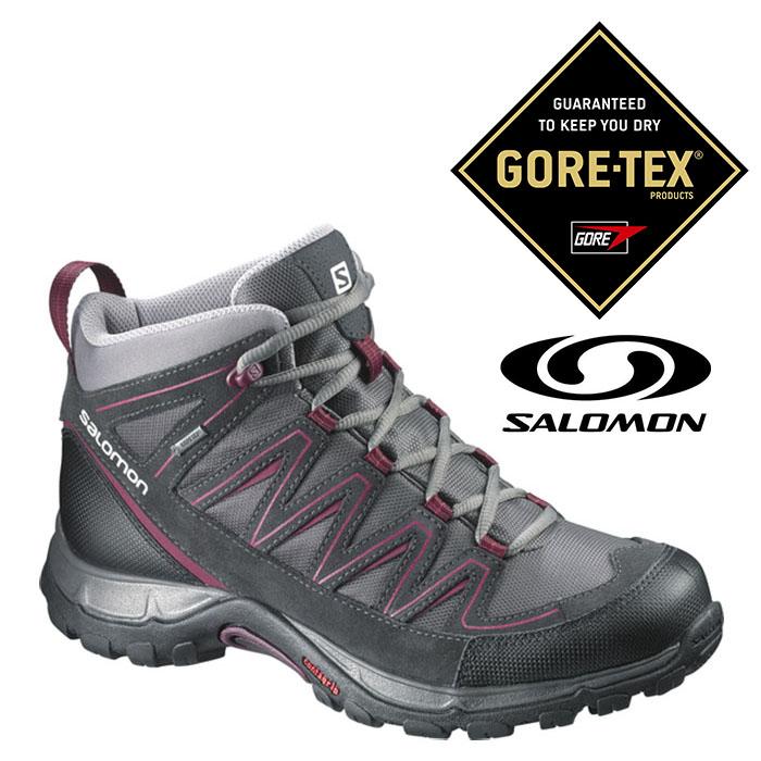 Salomon 女 Gore-Tex 中筒 防水登山健行鞋 HICKORY MID『瀝青灰/桃紅』373742|登山鞋