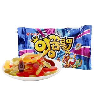 有樂町進口食品 韓國 ORION 好麗友軟糖 毛毛蟲造型軟糖綜合水果味 47g 8801117332006