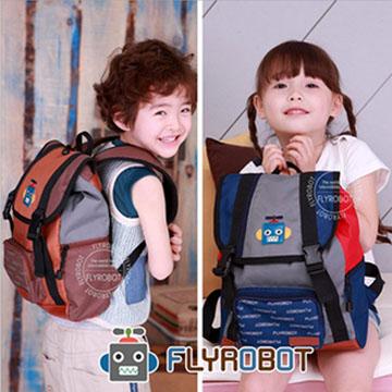 WallFree窩自在★可愛俏皮拼色機器人減壓防水透氣雙肩包兒童背包