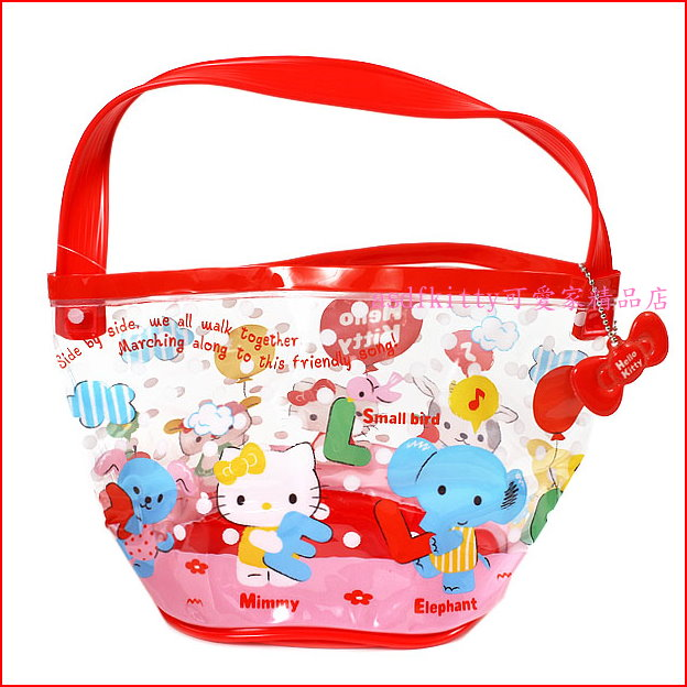 asdfkitty可愛家☆KITTY紅提帶透明防水手提包/手提袋/水桶袋-好擦好洗-游泳玩水好用-日本正版商品