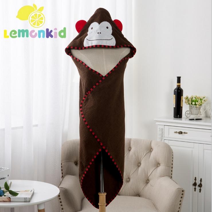 Lemonkid◆可愛卡通造型純棉柔軟吸水寬大蓋毯兒童嬰兒浴巾帶帽毛巾被浴袍90*90cm-咖啡色猴子