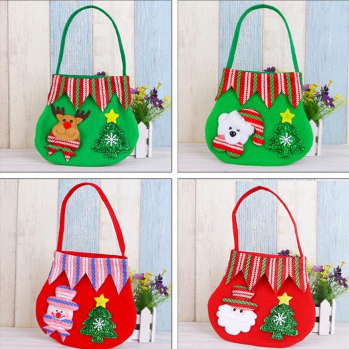 tangyizi輕鬆購【DS140】聖誕節創意聖誕老人麋鹿立體拉絨布藝糖果禮物裝飾手提袋