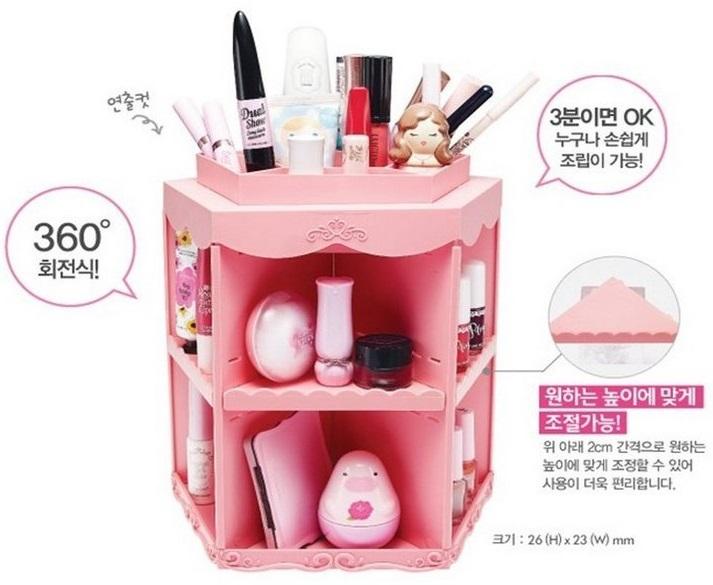 360度旋轉化妝品收納架多層五角盒 ☆真愛香水★