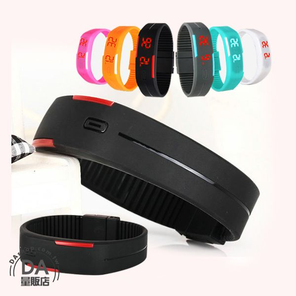 《DA量販店》馬卡龍 LED 觸控 手錶 果凍錶 運動 手環 手鐲 黑色(V50-1122)