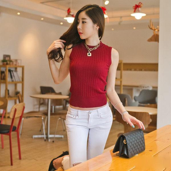 PS Mall 韓版針織無袖上衣 圓領內搭高領背心【T861】