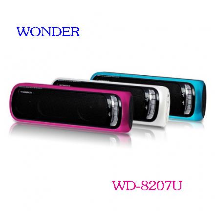 WONDER 旺德USB/MP3/FM 隨身音響 WD-8207U(三色) ◆可播放MP3音樂及FM收音機 ◆低音被動輻射震模,可產生強勁低音