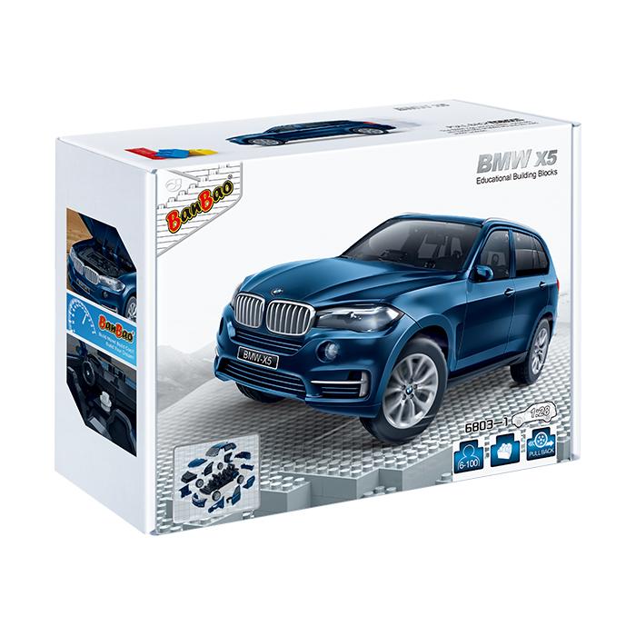 【BanBao 積木】寶馬系列-BMW x5藍 回力車 6803-1  (樂高通用) (單筆訂單購買再加送積木拆解器一個)