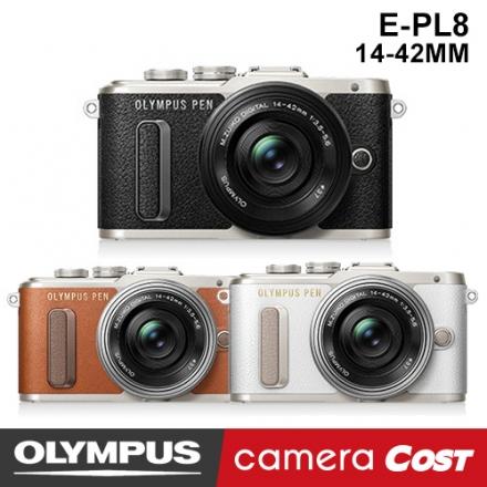 【64G單鏡豪華組】OLYMPUS E-PL8 EPL8 14-42mm 黑 白 棕 送64G+副電+座充+專用包+保護鏡+保護貼+小腳架+拭鏡布+螢幕擦 公司貨 翻轉自拍 EPL7 再進化