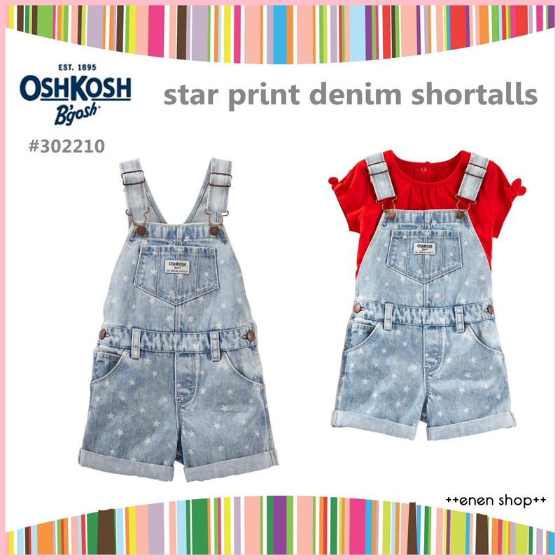 ++enen shop++ OshKosh B'gosh 單寧星星款吊帶短褲 ∥12M/18M/24M/3T/4T/5T