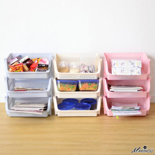 日本MAKINOU 收納籃 歡樂組合收納籃-台灣製 日本牧野 收納箱收納盒置物籃編織籃瀝水籃 MAKINO