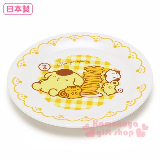 〔小禮堂〕布丁狗 日製陶瓷盤子《白.黃格紋.側坐.朋友.鬆餅.16.5cm》