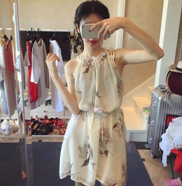 韓系水墨印花領口褶皺掛脖雪紡無袖連衣裙洋裝
