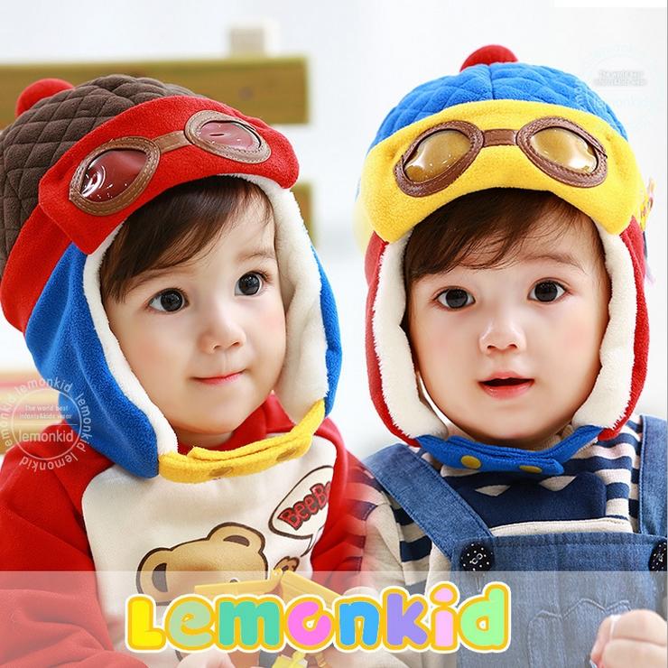 Lemonkid◆秋冬可愛酷酷熊眼鏡造型兒童保暖護耳帽飛行帽