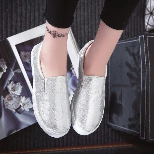 懶人內增高樂福鞋厚底反光亮面銀色※版型偏小-JC Collection