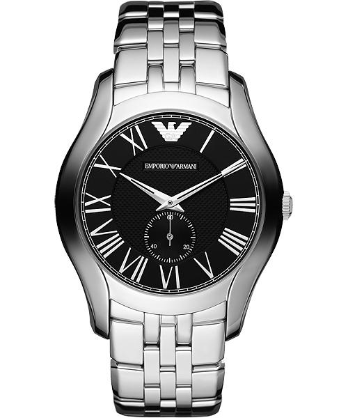 EMPORIO ARMANI/AR1706+AR1710義式羅馬小秒針對錶/黑面43+38mm