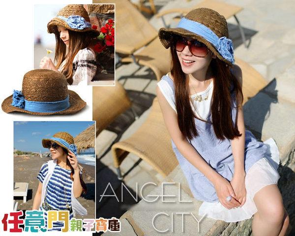 《任意門親子寶庫》大沿帽 大草帽 沙灘帽 太陽帽 草帽【BG234】藍色花朵原頂草帽