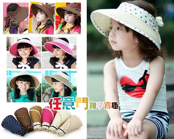 《任意門親子寶庫》大沿帽 沙灘帽 太陽帽 草帽【BG233】可折疊圓點遮陽帽 親子款