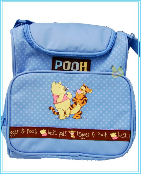 《任意門親子寶庫》維尼多口袋 肩背 側背 媽媽包-天空藍【LS0005】