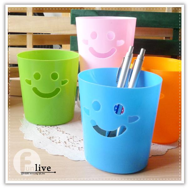 【aife life】糖果笑臉收納桶/微笑表情/置物桶/桌上型垃圾桶/筆筒/收納盒/車用垃圾筒/贈品禮品/紙簍