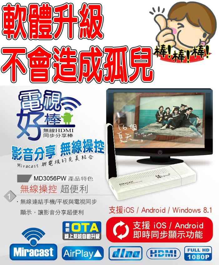 iOS10 支援 Youtube NCC通過 人因 MD3056PW 電視棒 無線HDMI 同步分享棒 iOS系統專屬同步 Android/安卓/蘋果/手機/平板/支援Miracast/dlna/AirPlay主流無線技術/影音分享/iPhone 3/4/4S/5/5C/5S/6 Plus/IP6/i6/ip6+/i6+/TIS購物館
