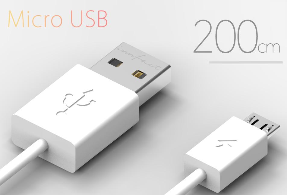 白色款-橘色閃電 Micro USB 快速充電線200cm