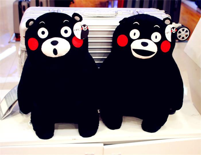 vivi shop 出口日本款黑熊公仔抱枕 熊本縣吉祥物KUMAMON優質毛絨公仔玩具娃娃 二合一抱枕 車上、辦公靠墊