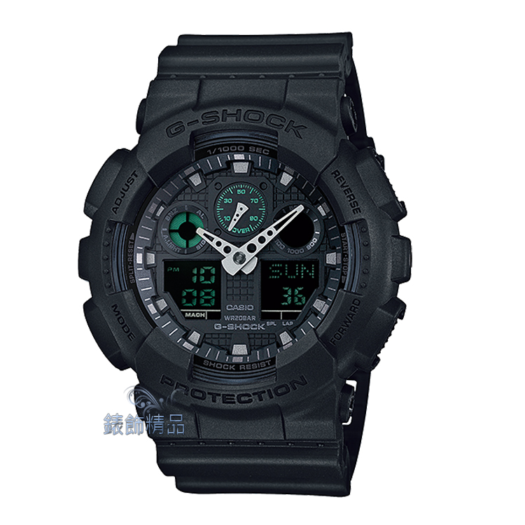 【錶飾精品】現貨卡西歐CASIO G-SHOCK人氣大錶徑 GA-100MB-1A霧面黑點綴綠GA-100MB-1ADR