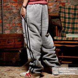 DITION 美式運動黑二線刷毛棉褲 單車縮口褲