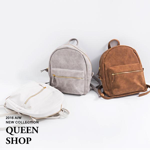 Queen Shop【06070212】金屬拉鍊麂皮後背包 三色售*現貨+預購*