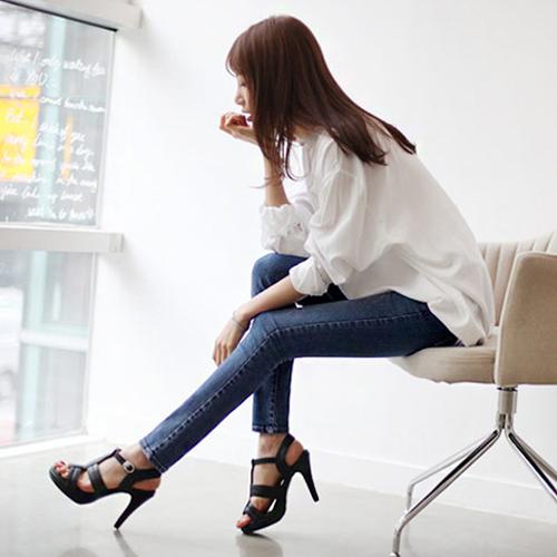 YJY韓風顯瘦修身彈力牛仔窄管褲[F521]-全尺碼