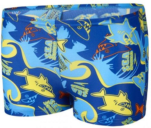 [陽光樂活]SPEEDO幼童男休閒四角泳褲 Seasquad Allover-SD809218A856 藍-黃