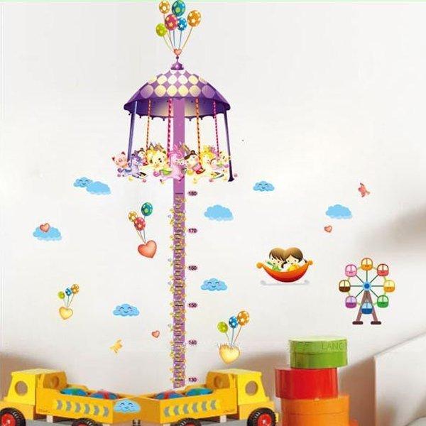 BO雜貨【YV0630】DIY時尚裝飾組合可移動壁貼 牆貼 壁貼 創意壁貼 旋轉木馬身高尺AY765