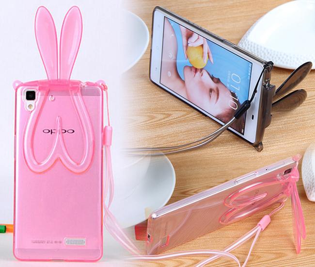 歐普OPPO R5 新款透明兔耳朵支架手機殼 歐普R5 掛繩兔子矽膠保護套