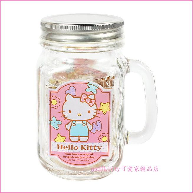 asdfkitty可愛家☆KITTY有蓋透明玻璃杯/梅森瓶-可當水杯.飲料杯.沙拉罐.儲物罐-日本正版商品