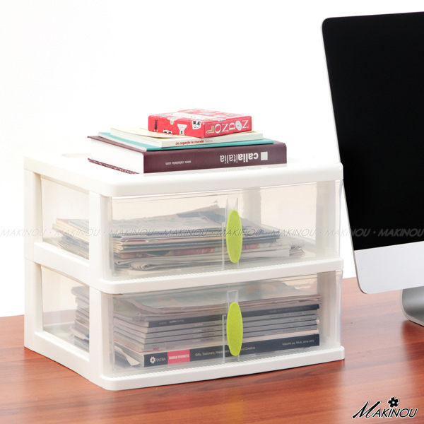 收納盒『日本MAKINOU和風上下二抽桌面收納盒』可搭配三層空櫃 抽屜收納箱 置物箱 牧野丁丁